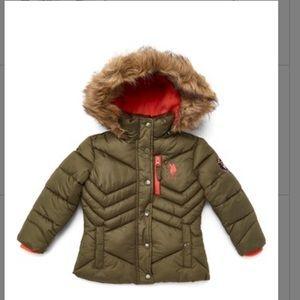 U.S. Polo Assn. Olive Puffer Jacket